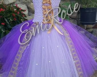 A tangled princess tulle tutu rapunzel  inspired dress