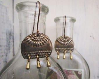 White Copper Sunflower Earrings