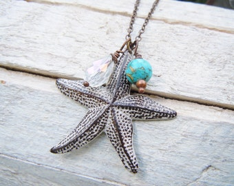 Brass Starfish Necklace Aged White Patina Summer