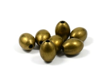 10 Pcs.  Antique Brass 10x12.45 mm Oval Brass Bead , Hole Size 2.6 mm