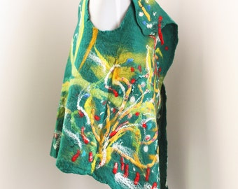 Chic Clothing - Women's vest - Green felted vest - Wool blazer