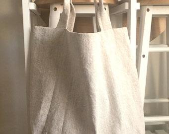 Natural Linen Bag - Canvas Bag - Linen Tote Bag - Washed Linen Bag - Big Market Bag - Beach Bag - Hanwoven linen bag