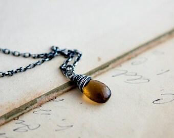 Gemstone Necklace, Whiskey Quartz Necklace, Caramel Brown, Quartz Pendant, Scotch Whiskey, Wire Wrapped, Autumn jewelry