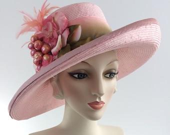Feather Derby Hat,Pink Hat, Pink Derby hat,Pink ascot hat, Pink church hat, Pink Oaks Hat, Chapeau, Wide Brim Hat, Derby Hats for Women