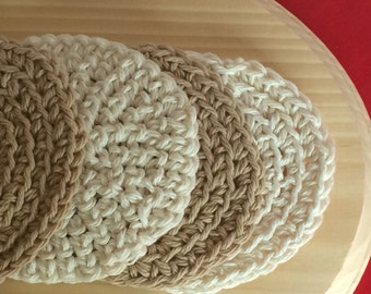 Coasters Brown and Beige Eco Friendly Cotton Crochet Coasters Set of 4
