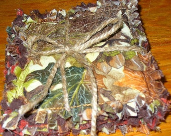 Rag Quilt Coasters set of 4 Fall Autumn Leaves Acorn Harvest RQQ