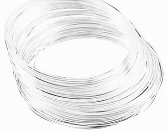 50 Circles bright silver finish Steel Memory Wire 5.5cm 1m thickness-9405A