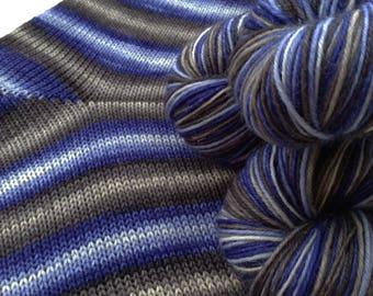 Hand dyed self striping merino sock yarn - Midwinter Night
