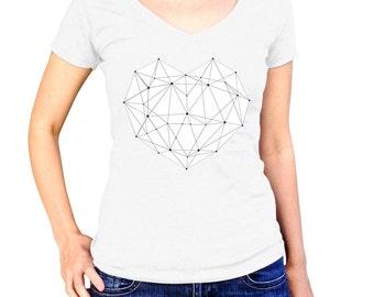 Womens White Heart Shirt - Girl Valentines Day Tshirt - Geometric Heart T-Shirt - Love T Shirt - Ladies Graphic Tee - Teenage Gifts
