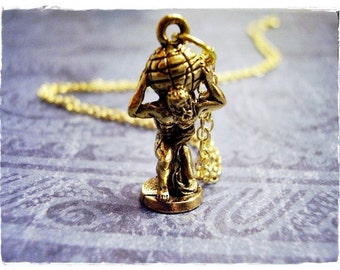 Gold Atlas the Titan Necklace - Antique Gold Pewter Atlas the Titan Charm on a Delicate Gold Plated Cable Chain or Charm Only