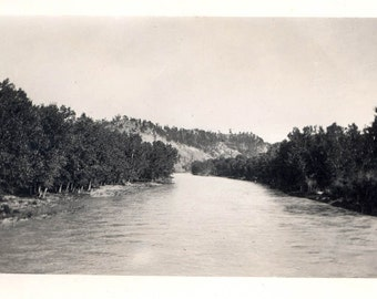 vintage photo 1912 Hulett WY Belle Fourche River View from Bridge Wyoming