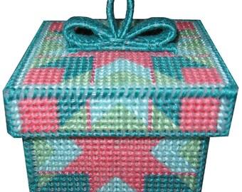 Plastic Canvas 10 count Turquoise Surprise Trinket Box PDF Format Instant Download