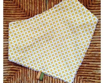 Terry bib/bandanas doubled cotton mustard yellow patterned
