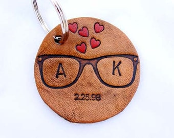Personalized Leather Keychain Hipsters in Love