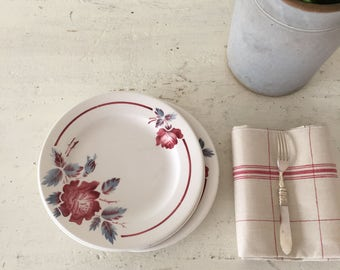 Vintage French set of 4 ironstone dessert plates