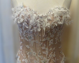 Ivory Lace & Beige satin corset size 10-12 UK