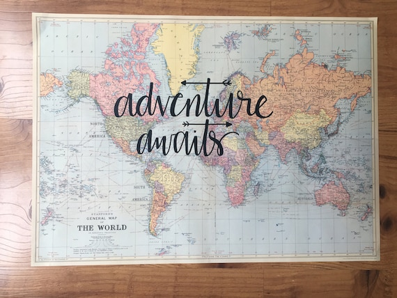 Hand lettered world map adventure awaits travel quote te gusta este artculo gumiabroncs Image collections