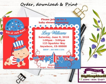 4th of July Baby Shower Invitation, Fourth of July Invite, Patriotic Baby Shower, Independence Day - Printable Personalized  File