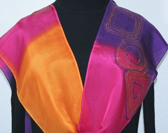 Pink Orange Silk Scarf Hand Painted Shawl BRIGHT SUNSET in Several SIZES. Anniversary Gift, Birthday Gift, Christmas Gift, Silk Painting