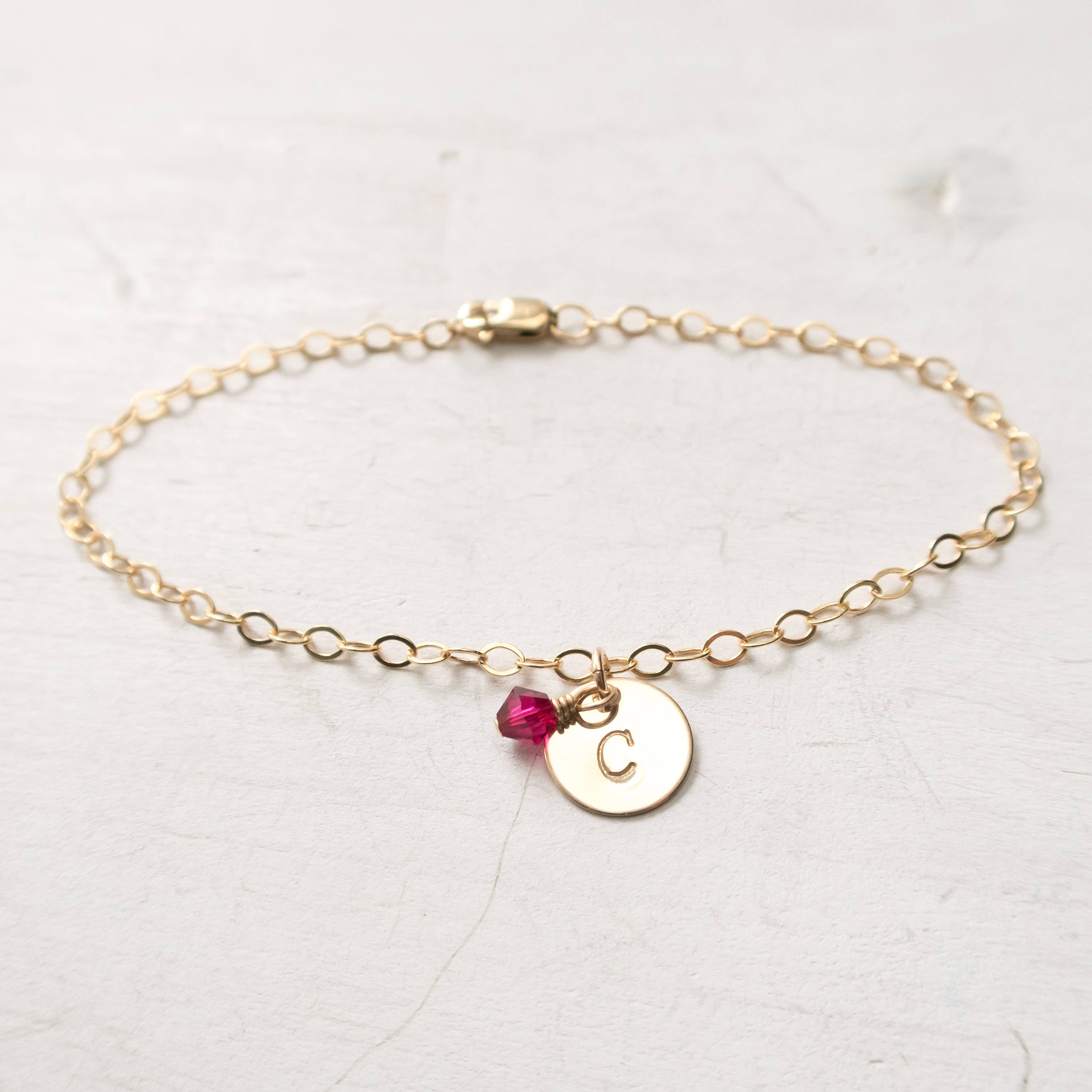 anklet filled channel pin gold birthstone ankle bracelet swarovski