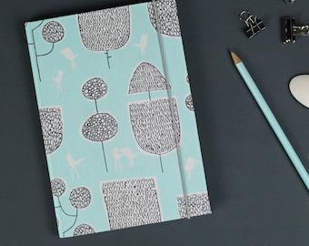 Customizable notebook, travel diary, Bullet Journal, note book, Diary, Cloth notebook, notebook, light blue, black