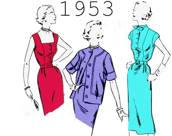 """1950s Skirt Suit Pattern Pencil Skirt WOMANS DAY 5055 bust 32"""" Short Sleeve Jacket and Skirt Sleeveless Blouse Tie Neck Blouse 1950s Blouse"""