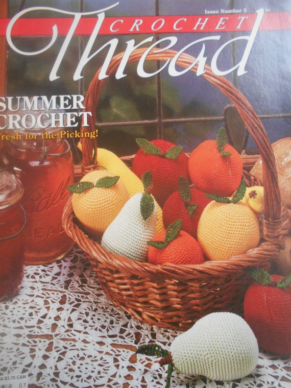 Crochet Thread, Issue #5, Summer Crochet, Fruit, Butterfly Curtain, Dresser Set, Fans & Lace, 1990 - How to Crochet Summer Pillow Patterns