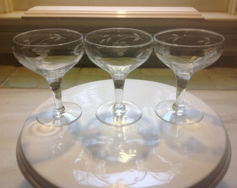 Vintage Crystal Champagne Coupes - etched - set of 3