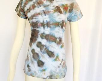 Ladies Tie Dye Tee - Size Small - Ice Dye T-Shirt - Tie Dye Top