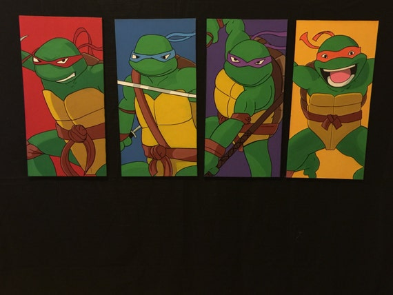 Ninja turtles ninja turle painting Four panel