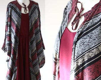 1970s burgundy maxi dress // vintage batwing cape  // vintage dress