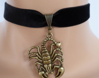 velvet choker, scorpion choker, scorpio necklace, stretch ribbon, black velvet