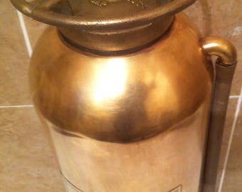 """Vintage Brass Fire Extinguisher, Spin Off Top, Storage, The General, Detroit, Michigan, 2 1/2 Gallon Fire Extinguisher, 23"""" Tall, Home Decor"""