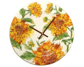 Gold and Brown Sunflower Wall Clock, 10-1/2 Inch Floral Ceramic Plate Clock, Kitchen Clock, Living Room Clock, Autumn Colors - 2412