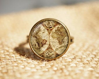 Antique World Map Rings, world map rings, antique map jewelry, map rings, Travel Rings