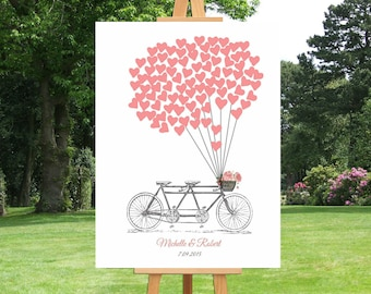 Tandem Bicycle Guest Book | Thumbprint Guest Book | Hearts Balloons Guest Book | Anniversary Gift | Wedding Gift | Canvas Print - 30477