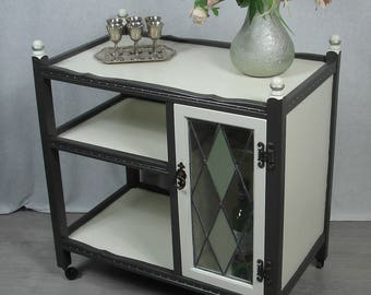 1950s Housebar Cart two Levels, cottage style white +oliv-grey, artistically handpainted, by Old Charm UK