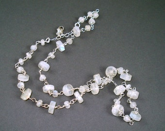 Moonstone Necklace with Moonstone Rondelles and Sterling Silver, Jewelry Necklace