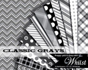 Chevron digital paper gray, stripe and silver polka dot papers, scrapbook plaid paper gray and black : p0212 Gray v001C IP