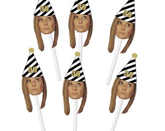 30th Birthday Cupcake Toppers with Face and Birthday Hat, Thirtieth, 30, Thirty, Custom, Personalized, Gold glitter, Silver Glitter, Black