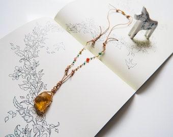 Golden Calcite Pendant Necklace, Turquoise, Carnelian, Rose Quartz, Pink Jade, Gold, Universe, Chic, Colourful, Anchor, Grounding