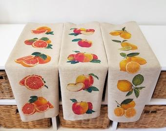 Decorative Cotton Linen Garden Fruits Tea Towels Kitchen Towels Dish Towels. Set of Three in a Gift Box.