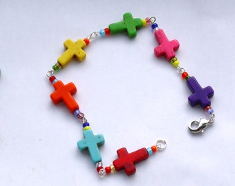 Multi Color Cross Link Bracelet
