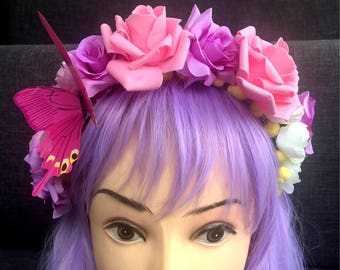 Pink butterfly and roses fairy crown