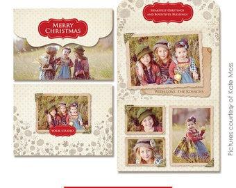 Holiday Folded Luxe Card Template - Vintage girls - E233