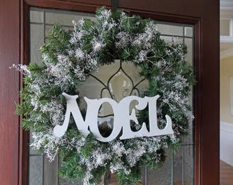 Christmas Wreath-Christmas Wreaths for Front Door-Christmas Wreathes-Front Door Wreaths-Noel Wreath-Green and White Wreath-For Front Door