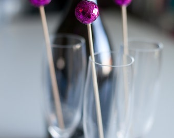 Radiant Orchid Sequin Glitter Ball Drink Stirrer, Weddings, Signature Drink, Cocktail, Bar Decoration, Drink Decoration