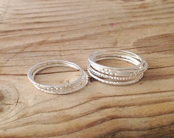 5 Silver rings, Stacking ring, silver rings, stacking gold rings, knuckle rings, thin ring, hammered ring, tiny ring 8881