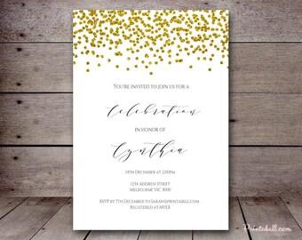 DIY Gold Confetti Custom Invitation, Baby Shower Invitation, Bridal Shower, Birthday Party Invitations, printabell bs88 bs46