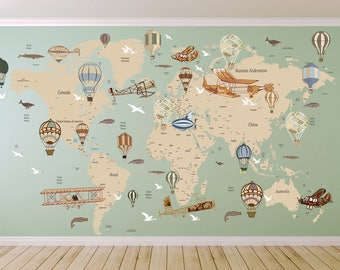 Cultural world map wall decal reusable vinyl fabric avitation world map decal airplane map wall decal clear vinyl decal nursery room decals world map mural hot air balloon world map gumiabroncs